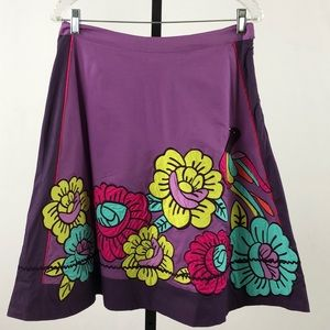 Odille Purple Floral and Bird Embroidered Skirt